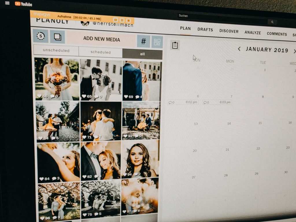 Screenshot Planoly Instagram Posts planen